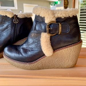 🆕🆕🆕✨SAM EDELMAN JAYLA LEATHER WEDGE BOOTIES 7.5